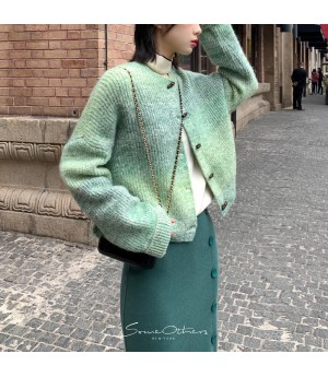 SomeOthers Gradient Horn Buckle Cardigan-Green