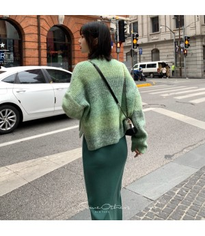 SomeOthers Diagonal Split Knit Skirt-Green
