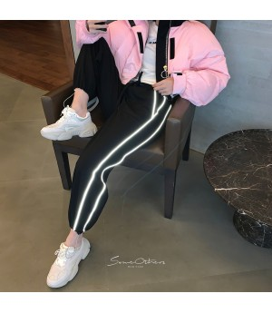 SomeOthers Reflective Strip Plus Velvet Jogging Pants-Black