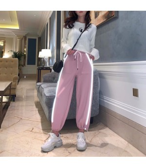 SomeOthers Reflective Strip Plus Velvet Jogging Pants-Pink