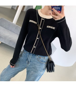 SomeOthers Chanel Style Fake Cardigan Sweater-Black