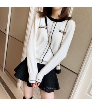 SomeOthers Chanel Style Fake Cardigan Sweater-White