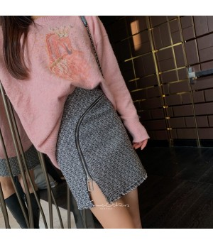 SomeOthers Tweed Zipper Skirt-Grey