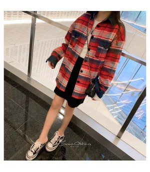 "SomeOthers ""Boyfriend Style"" Tweed Shirt-Red"