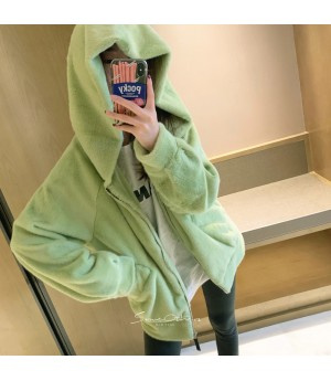 SomeOthers Wizard Hat Mink Cashmere Coat-Green