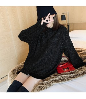 SomeOthers Lantern Sleeve Silk Sweater-Black