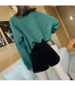SomeOthers Lantern Sleeve Silk Sweater-Green