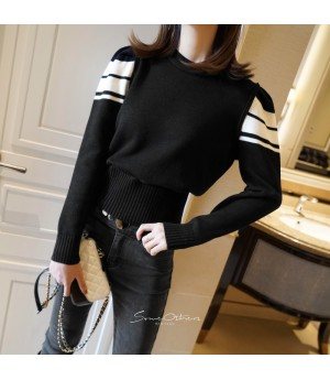 SomeOthers Black&White Babble Sleeve Sweater-Black
