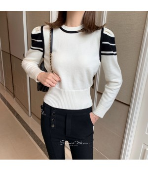 SomeOthers Black&White Babble Sleeve Sweater-White
