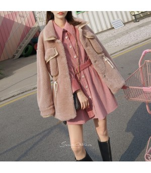 SomeOthers Lambswool Leather Coat-Pink
