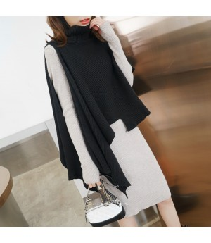 SomeOthers Lazy Style High Colar Top-Black