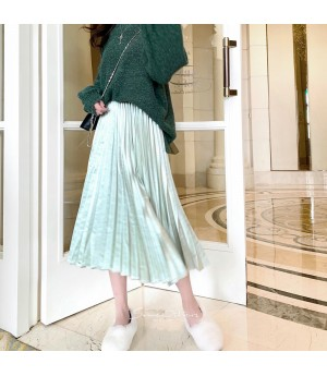 SomeOthers Satin Pearl Wrinkled Dress-Green