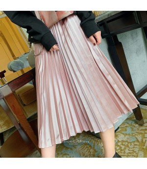 SomeOthers Satin Pearl Wrinkled Dress-Pink
