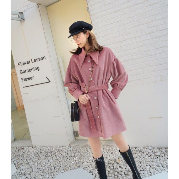 SomeOthers Corduroy Big Outline Shirt-Dress-Pink