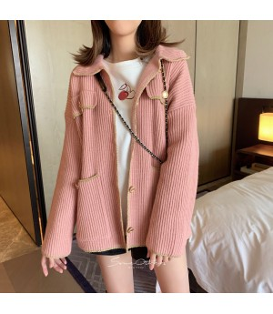 SomeOthers Gold Edge Knit Cardigan-Pink
