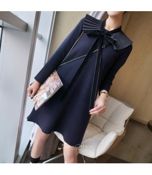 SomeOthers Wrinkle Collar Knit Dress-Blue