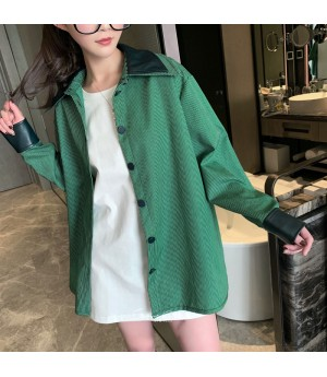 SomeOthers Double Layer Collar Splice Leather Shirt-Green