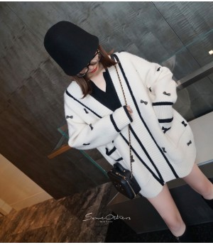 SomeOthers Muti-Color Bow Knit Cardigan-White