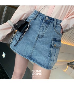 SomeOthers Stereoscopic Pocket Jeans Short-Blue