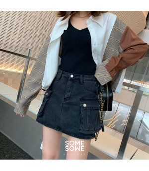 SomeOthers Stereoscopic Pocket Jeans Short-Dark Grey