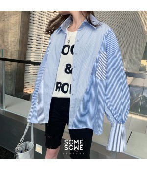 SomeOthers Stripe Splice Loose Shirt