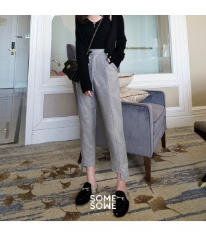 SomeOthers Irregular Ruling Suit Pants-Silver
