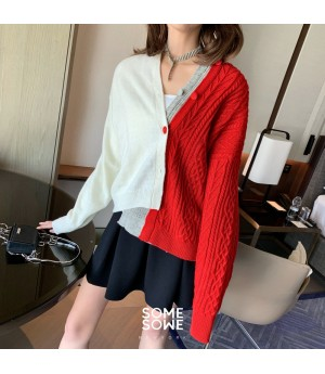SomeOthers MuiltColor Free Stitching Cardigan-Red