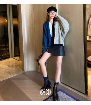 SomeOthers MuiltColor Free Stitching Cardigan-Blue