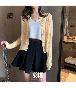 SomeOthers Ice Cream Color Retro Knit Cardigan-Yellow