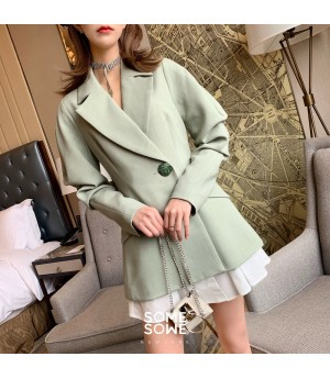 SomeOthers Splice Suit Fluffy Sleeve Dress-Avocado