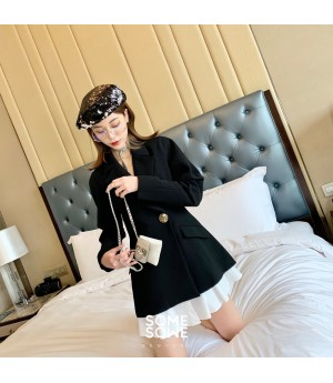 SomeOthers Splice Suit Fluffy Sleeve Dress-Black