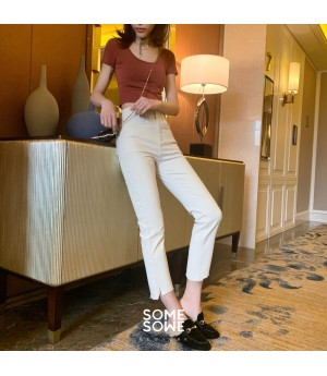 SomeOthers High Waist Rice Color Pants