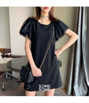 SomeOthers First Love Sequins Babble Sleeve Shirt-Black