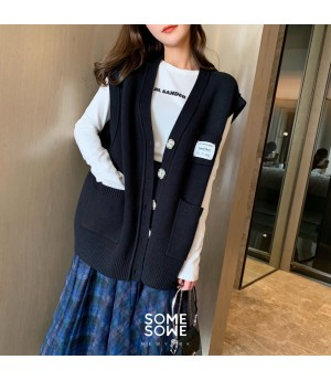 SomeOthers Exclusive Mark Knit Cardigan Vest-Black