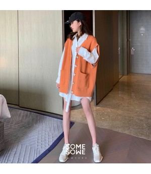 SomeOthers Exclusive Mark Knit Cardigan Vest-Orange