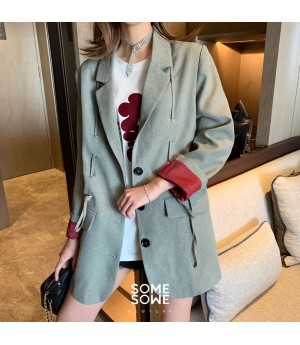SomeOthers Muiltcolor Drawstring Suit Coat-Khaki