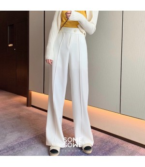 SomeOthers Middle Seam Wide Leg Pants-White